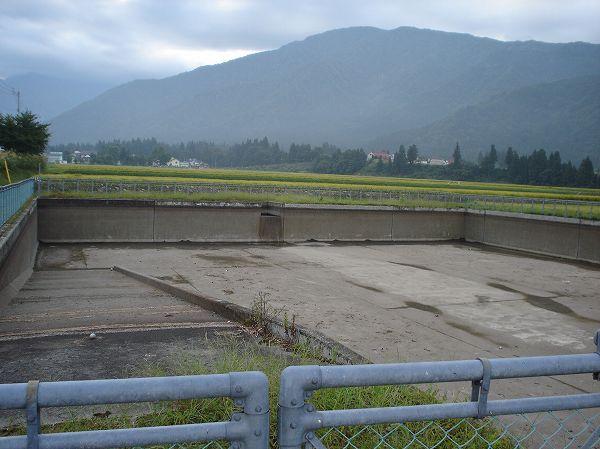 田んぼの脇の溜め池は水が抜かれています