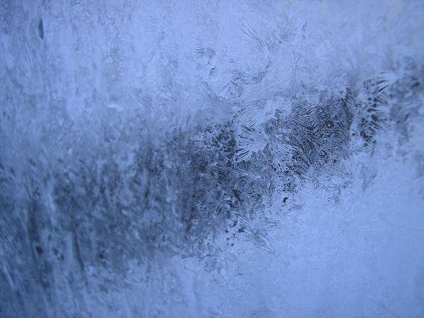 今朝は窓ガラスがガチガチに凍っています