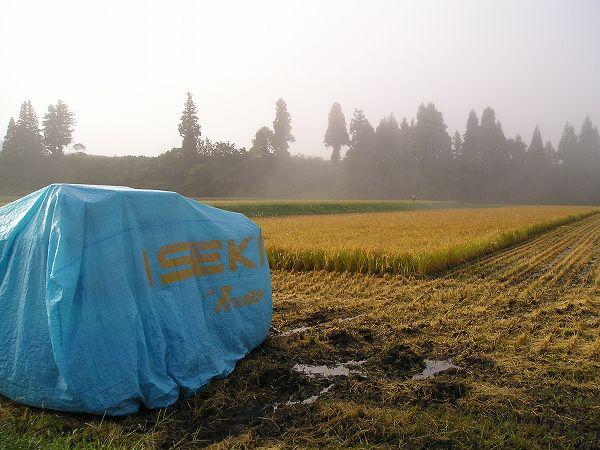 稲刈り作業の途中の田んぼ