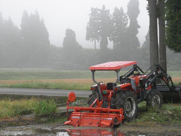 稲刈りが終わり来年の稲作に向けての作業が始まっている田んぼ