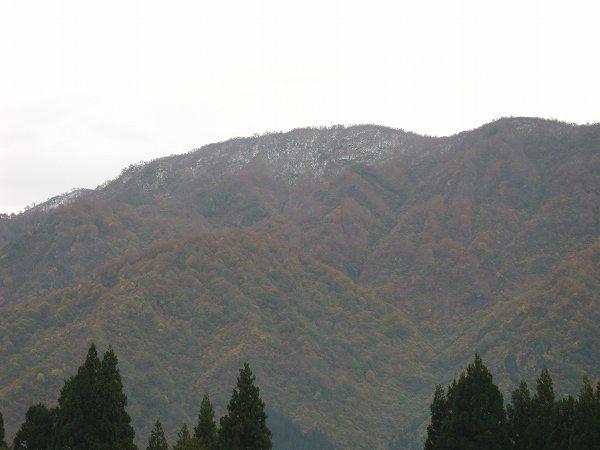 手前の山も頂上付近は雪が降ったようです