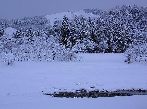 水無川がまだ完全に雪で覆われていません