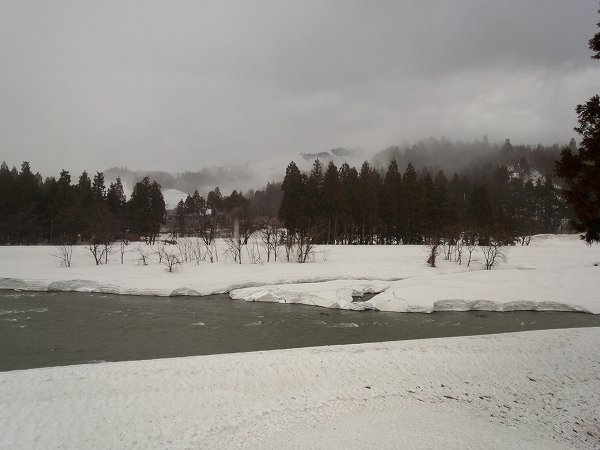 水無川を流れる雪解け水の量が増えています