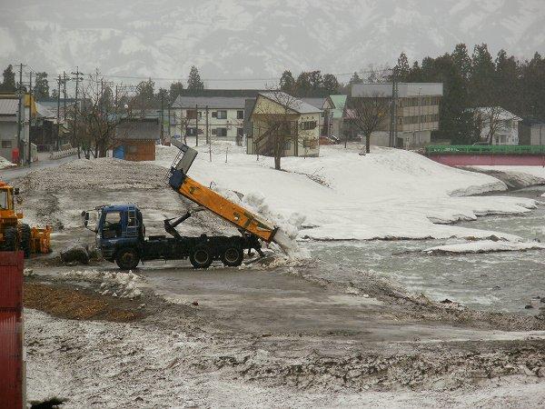 ダンプカーが水無川の雪捨て場に雪を運びこんでいます