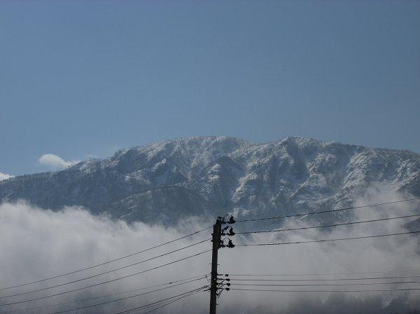 目の前の山の頂上付近は真っ白です