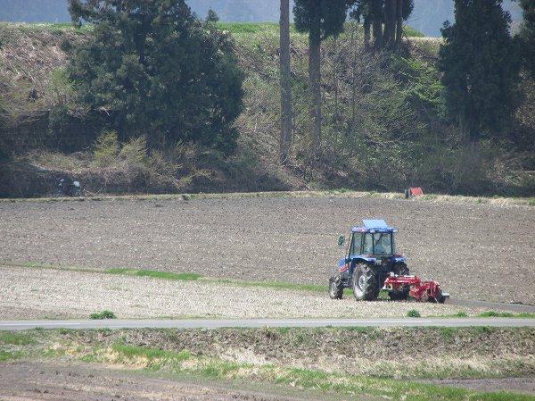 トラクターによる田起こし作業が行われている田んぼ