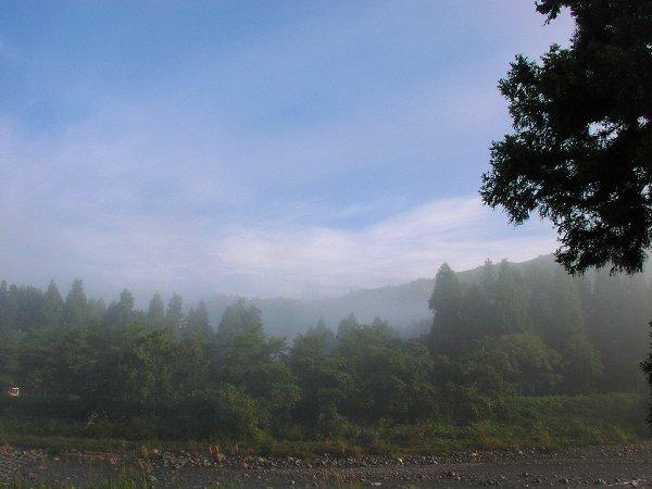 水無川を覆っていた霧が晴れてきました