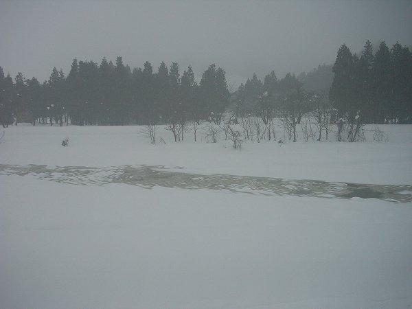 雪が解けて水無川の水面が見えてきました