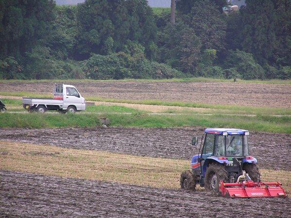 田んぼでは来年の稲作に向けてトラクターの作業が行われています
