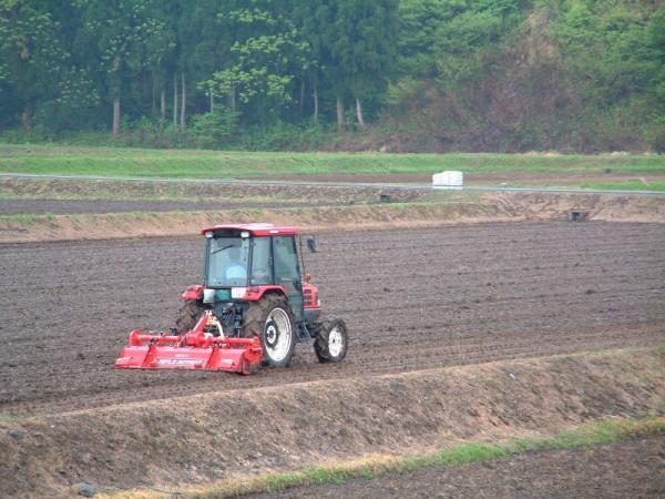 雨の中、トラクターによる田起こし作業が行われています