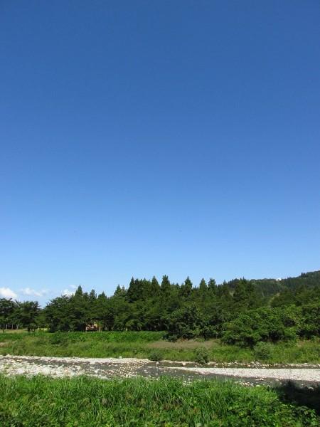 秋晴れの水無川の風景