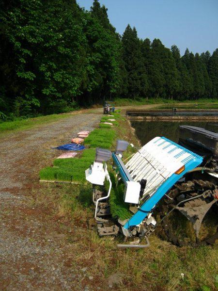 田んぼの脇でスタンバイする田植え機