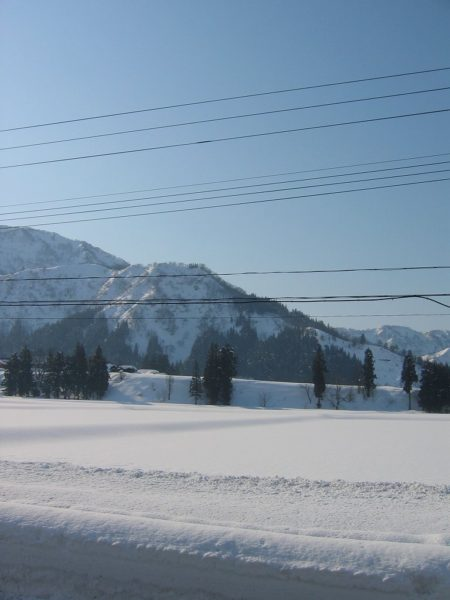 田んぼの雪面が固く締まっています