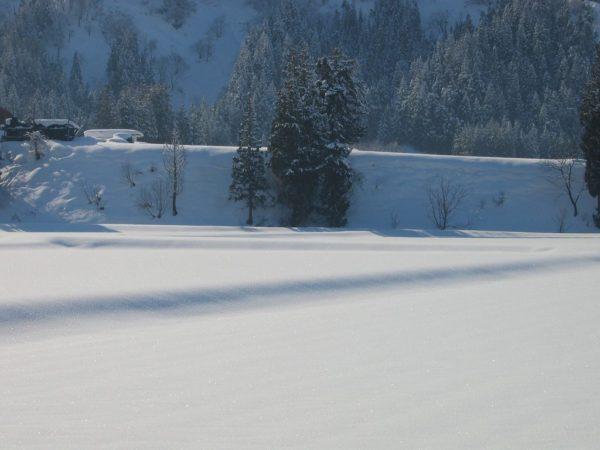 青空が広がって雪面がまぶしいです